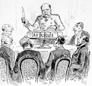 8-1884-11-15-C1 Kongokonferenz 1884 / Franz.Karikatur Kongokonferenz, Berlin, 15.November 1884 bis 26. Februar 1885. - 'Jedem sein Teil'. - Franzoesische Karikatur auf Bismarck, der Afrika als Kuchen verteilt. Holzstich. Aus: L'Illustration, 1885/I. E: Congo Conference 1884/ French caricature Congo Conference, Berlin, 15 Novmember 1884 to 26 February 1885. - 'Everyone gets his share.' - French caricature of Bismarck, dividing Africa like a cake. Wood engraving. From: L'Illustration, 1885/I.